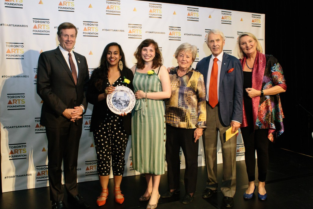 Left to Right: Mayor John Tory, Artistic Director Nikki Shaffeeullah, General Manager Rachel Penny, Award Supporters Sandra and Jim Pitblado, and CEO of Toronto Arts Foundation Claire Hopkinson. Photo by Sean Howard